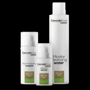 CannabiGold - Arcápoló Kozmetikai Csomag - Zsíros és kombinált Bőrtípusra