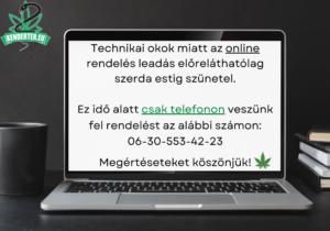 Telefonon veszünk fel rendelést, az online rendelés leadás átmenetileg szünetel